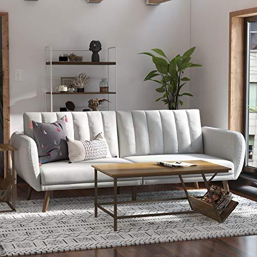 Novogratz Brittany Sofa Futon - Premium Upholstery and Wooden Legs - Grey