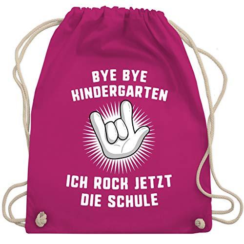 Shirtracer Einschulung und Schulanfang - Bye Bye Kindergarten Ich rock jetzt die Schule Hand - Unisize - Fuchsia - beuteltasche - WM110 - Turnbeutel und Stoffbeutel aus Baumwolle