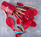 18 Pieces Home Kitchenware Gadgets Nonstick Silicone Cooking Set Kitchen Utensils With Plastic Holder (Red)