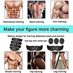 M Mitlink Muscle Toner Abdominal Toning Belt EMS ABS Body Muscle Trainer Wireless Portable Unisex Fitness Training Gear for Abdomen/Arm/Leg Home Office Workouts Exercise Gym Device Ab Stimulator Abs