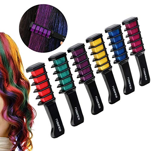 Qpower 6PCS/Set Mini Disposable Professional Crayons for Hair Color Chalk Hair Dyeing Tool Personal Salon Use Hair Dye Comb for Party Fans Cosplay
