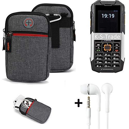 K-S-Trade Gürtel-Tasche + Kopfhörer Für Cyrus cm 16 Handy-Tasche Holster Schutz-hülle Grau Zusatzfächer 1x
