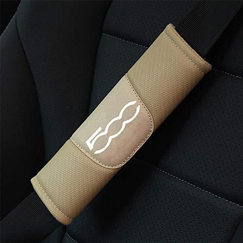 ZXCV 2 Fundas Coche Almohadillas Cinturón Fibra Carbono, para Fiat 500 Hombro Correa Protector Seguridad con Logo Auto Interior Accesorios