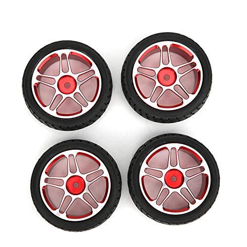 T best Ruedas de Coche RC, Rueda de neumático de llanta 4PCS Aleación de Aluminio 1/10 Rueda de neumático de Coche RC Control Remoto Reemplazo de Cubo de Rueda de Coche(Rojo)