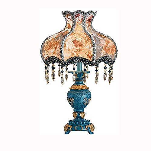 MQJ Lámpara de Mesa de Resina Lámpara de Escritorio de Estilo Europeo, Lámpara de Iluminación de Tela Floral Creativa, Iluminación Decorativa de la Sala de Estar de la Cabecera Retra (Azul)