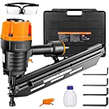 Framing Nailer Kit, 2' to 3-1/2' Full Round Head Nail Gun, 21°Heavy Duty Magazine with 60 Nails Capacity, Ergonomic Nailer with Interchangeable Trigger and Safety Goggles, Storage Case Included