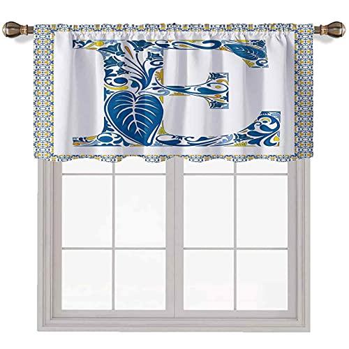 Cenefa de ventana con diseño de letra E de 142 x 35 cm, azulejos portugueses y arreglo floral con aislamiento térmico para ventana, color azul, amarillo y naranja