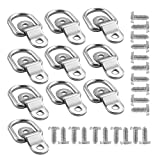 HYFIX 10 Pack D Rings Anchor 1/4' Trailer Cargo Tie Down Ring Anchor for Floor Trucks RV Campers Vans ATV SUV Boats Motorcycles etc Vehicles, with Screws