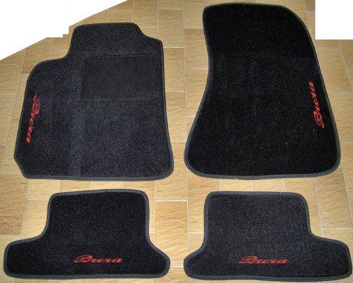 SonCar Tappeti per Auto Neri, Set Completo di Tappetini in Moquette su Misura con Ricamo a Filo Rosso