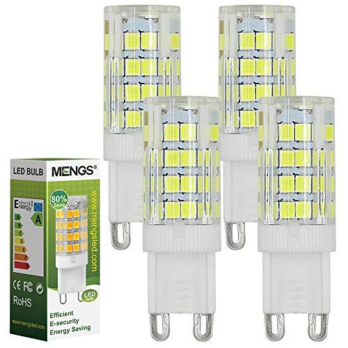 MENGS 4 Pacco da Lampadina a LED G9 5W (equivalenti a 40W) Lampada a LED risparmio energetico Bianco Freddo 6000K, AC 220-240V, 480LM Luce a LED