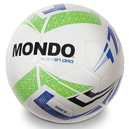 Mondo Toys - Pallone da Calcio cucito ELEVEN PRO - size 5 - 400 g - colore bianco/azzurro - 13902