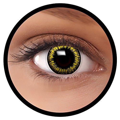 Farbige Kontaktlinsen gelb Werwolf + Behälter, weich, ohne Stärke in als 2er Pack (1 Paar)- angenehm zu tragen und perfekt für Halloween, Karneval, Fasching oder Fastnacht Kostüm