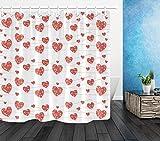 AFDSJJDK duschvorhang schwer Rotes Herz Girlande Liebe Valentinstag Badezimmer Dekoration Stoff Duschvorhang Haken