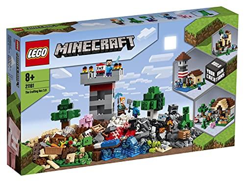LEGO Minecraft CraftingBox3.0, Kit 2 in 1 Castello Fortezza Fattoria con Figure di Steve,Alexe Creeper, 21161