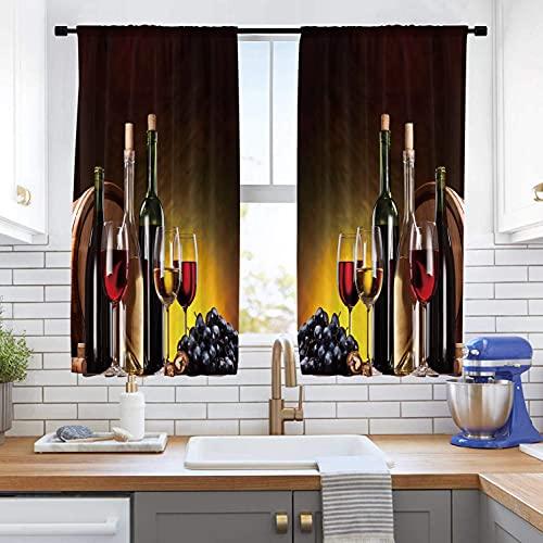Cinbloo Wine Kitchen Curtains Small Rod Pocket 27.5(W) x 39(L) Inch Rustic Yellow Brown Grapes Decor Cafe Theme Women Country Farmhouse Vineyard Romantic Art Short Print Window Drapes 2 Panels Set