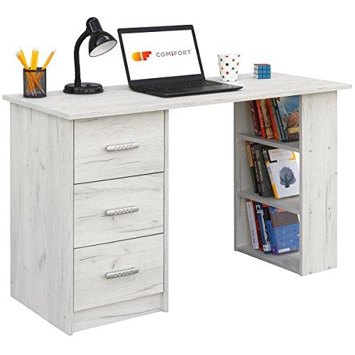 COMIFORT Mesa de Trabajo – Escritorio Prim. Robusto, Estilo Moderno y Minimalista con Diseño Reversible de Las 3 Baldas y 3 Cajones, Mesa de Oficina con Gran Capacidad de Almacenaje. Kraft