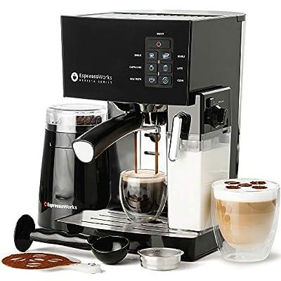 Espresso Machine, Latte & Cappuccino Maker- 10 pc All-In-One Espresso Maker with Milk Steamer (Incl: Coffee Bean Grinder, 2 Cappuccino & 2 Espresso Cups, Spoon/Tamper, Portafilter w/ Single & Double Shot Filter Baskets)