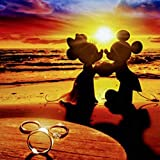 TMEWG Diy 5D Pintura Diamante Kit De Punto De Cruz Personaje De Dibujos Animados Mickey Minnie Diamante Bordado Diamante Mosaico Manualidades Costura(12x12inch)