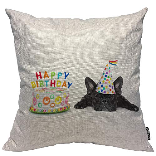 Mugod French Bulldog Decorative Pillow Case Cute Happy Birthday Party Cake Candles Hat Eyes Closed Throw Pillow Cover Home Decor Cotton Linen Square Cushion Cover for Couch Bed Sofa 18X18 Inch