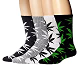 Athletic Sports High Crew Socks for Men Women Marijuana Weed Leaf Cotton Sock(4 Pairs Mix Color)