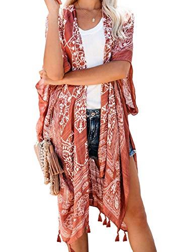 Dokotoo Womens Fashion 2019 Print Open Front Long Kimonos Cover up Pop Pop Tassel Split Cardigan Holiday Beach Swimsuit Swim Bikini Loose Bathing Suit Cover up Swimwear