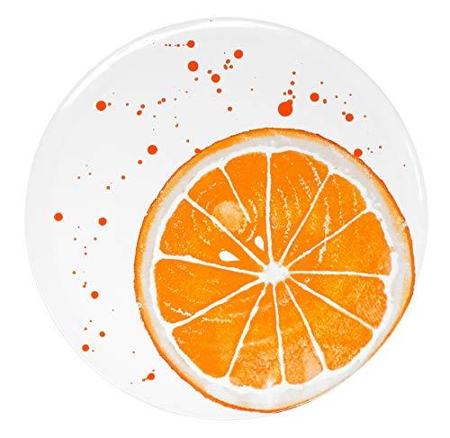 Lashuma Italienischer Speiseteller rund, Keramik Teller Ø 29 cm, Servierplatte Motiv: Orange