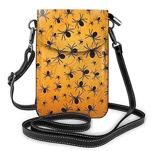 mengmeng Arañas en naranja patrón bandoleras Cruz cuerpo bolsa pequeño teléfono celular bolso casual hombro bolsas para las mujeres