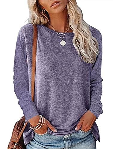WXDSNH T-Shirt da Donna con Scollo Tondo Tasca Divisa Casual Allentata a Manica Lunga