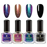 BORN PRETTY Chameleon Nail Polish Set Holographic Glitter Polish Sparkle Shimmer Nail Art Polish with Black Nail Polish Multicolored Nail Art Varnish 4 Bottles