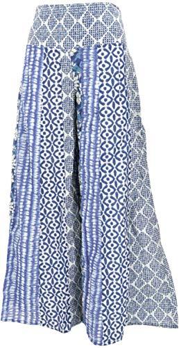 Guru-Shop Patchwork Palazzohose, Hippie Chic Schlaghose, Boho Hosenrock, Damen, Blau/weiß, Baumwolle, Size:40, Lange Hosen Alternative Bekleidung