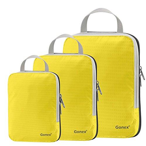 Gonex - 3 Packs Organizador Maleta Bolsas Portátiles para Ropa Bolsas Extensibles e Impermeables Organizador de Almacenaje del Tres-tamaño y a Prueba de Polvo Amarillo