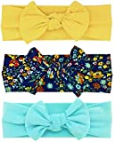Babygiz Baby Girl Headbands-Infant,Toddler Cotton Handmade Hairbands with Bows Child Hair Accessories (Yellow, Aqua Blue, Assorted Colors on Navy, 3)
