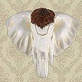 DAGCOT Colgando de Estilo Europeo Blanco Antiguo Colgar de la Pared Escultura de Cabeza de Elefante hogar de la Pared de la Sala Colgante Creativo Retro Resina Cabeza de Elefante Colgante de Pared de
