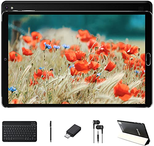 GOODTEL Tablet 10 Pulgadas Android 10 4GB RAM + 64GB ROM | Cámara Dual | WiFi | Bluetooth | GPS | MicroSD, con Teclado Bluetooth, Negro