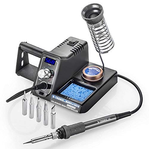 X-Tronic Model #3020 Digital LED 75 Watt Soldering Iron Station - 10 Minute Sleep Function, Auto Cool Down, C/F Switch, Solder Holder, Brass Tip Cleaner w/Cleaning Flux (Deluxe - 5 Extra Solder Tips)