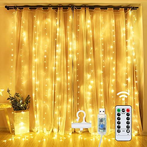 OMERIL LED Lichterkette USB Lichtervorhang: USB 3M*3M 300 LEDs Vorhanglichter String 8 Modus mit Fernbedienung Timer IP65 für Deko Garten Pavillon Party Innenbeleuchtung Schlafzimmer Warmweiß
