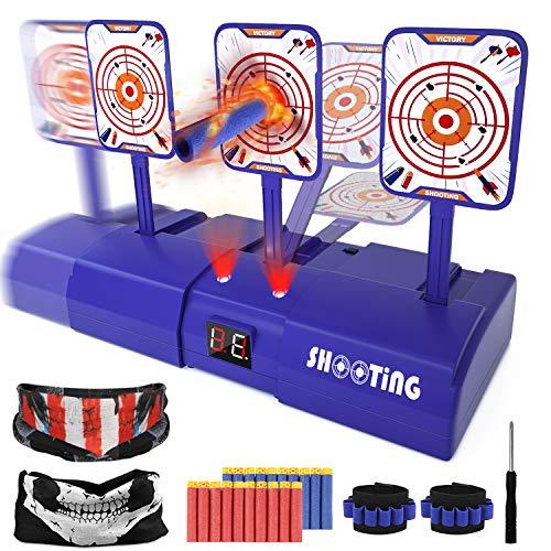 Vimzone Elektronisches Digitales Ziel, Elektrisches Scoring Auto Reset-Schießziel mit 20 Stück Nachfüllpfeilen und 2 Handbändern und 2 Masken und 1 Schraubendreher für Nerf-Waffen