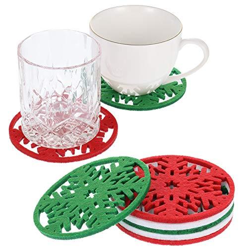 Fanshiontide - Juego de 12 manteles individuales de silicona resistentes al calor, diseño de triángulo, resistentes al calor, antideslizantes, protectores de mesa de cocina (rojo, verde y blanco)