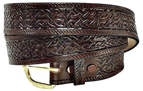 hand-stitched custom-made Celtic buckle leather belt
