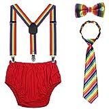 Baby 1./2. Set de accesorios para tartas de cumpleaños con tirantes ajustables y pantalones bombachos para bebé Rayas del arco iris. Talla única