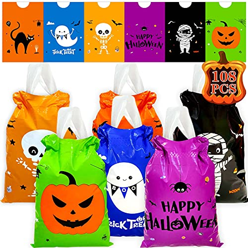 Halloween Drawstring Candy Bags 108PCS Halloween Goody Bags Small Halloween Goodie Bag Plastic Halloween Candy Bags for Trick or Treating Small Trick or Treat Bags Small Halloween Goodie Bags