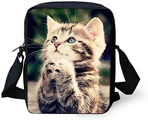 Coloranimal Cute Animal Patern Kawaii Cat Crossbody Shoulder Bagpack Fashion Mini Crossbofy Bag for Child Kids Women Men Handbag Travel Purse Wallet Lightweight Satchel