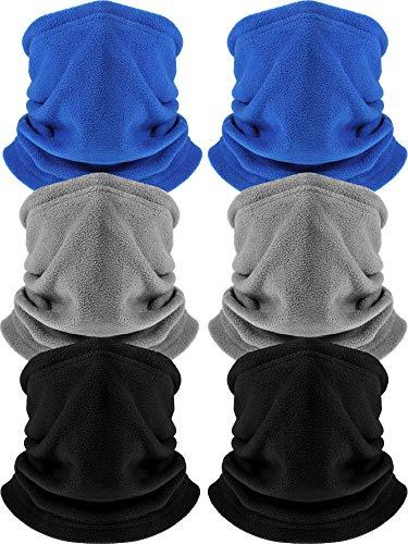 6 Pack Fleece Neck Warmer Gaiter Mask Thick Thermal Windproof Ski Neck Gaiter for Unisex (Black, Blue, Grey)