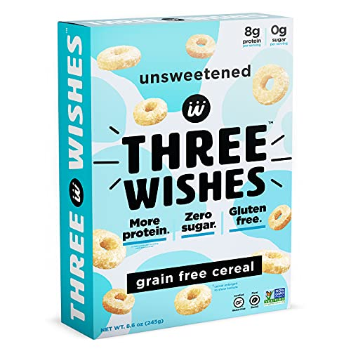 Plant-Based and Vegan Breakfast Cereal by Three Wishes - Unsweetened, 1 Pack - High Protein and Low Sugar Snack - Gluten-Free, Grain-Free, and Dairy-Free - Non-GMO