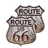 dojune - 2 señales de ruta 66, cartel vintage de metal para tienda de la marca U.S. 66 Road Tin Sign para decoración de pared del hogar