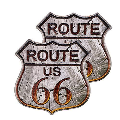 2 señales de ruta 66, cartel vintage de metal para tienda de la marca U.S. 66 Road Tin Sign para decoración de pared del hogar