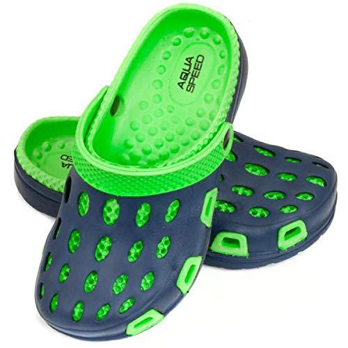 Aqua Speed Clogs Mädchen Jungen | Badeschuhe rutschfest | Badepantoletten | Swimmingpool | Schwimmbad | Gartenschuhe Navy - Violett | Gr. 30 | Silvi