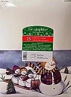 雪の家族 グリーティングカード 封筒付き