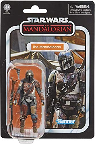 Star Wars – The Vintage Collection – The Mandalorian – Figura de acción de 9,5 cm – El mandaloriano es usado en batalla y con labios apretados.