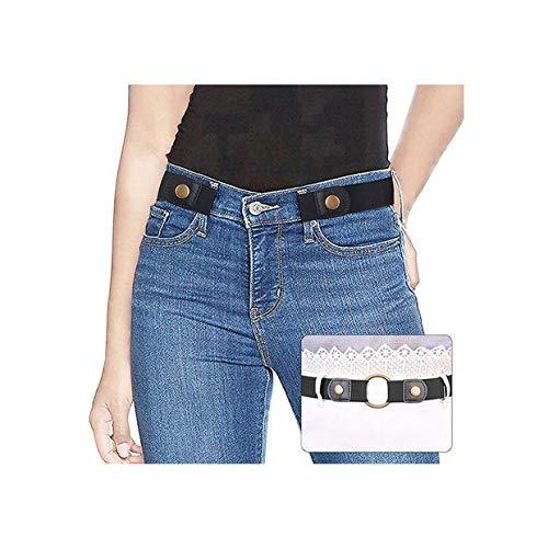 SUOSDEY SUOSDEY Gürtel Damen Schwarz,Elastischer Gürtel für Jeans Hosen Stretchgürtel Gürtel für Damen Herren ohne Schnalle gürtel,schwarz,60-84